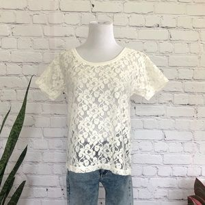 H&M Sheer Lace T-Shirt